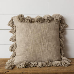 Taupe Tassels | Pillow