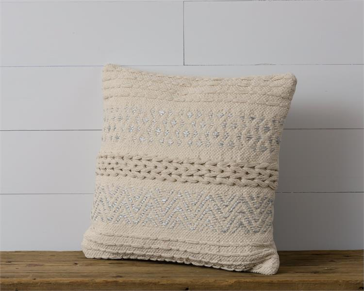 Knitted Silver Accents| Pillow