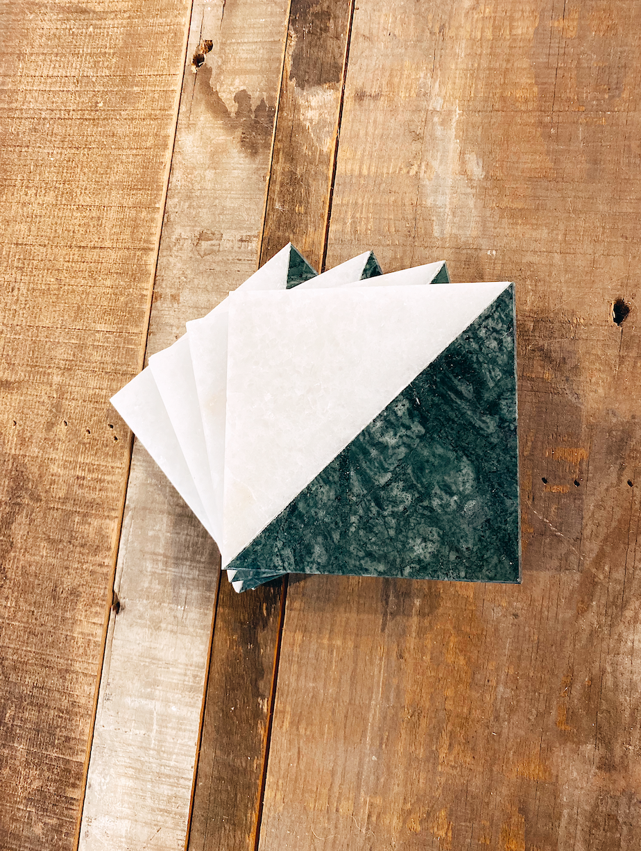Green & White Marble Coasters