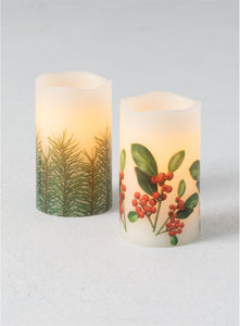 Pine Berry Pillar Candle