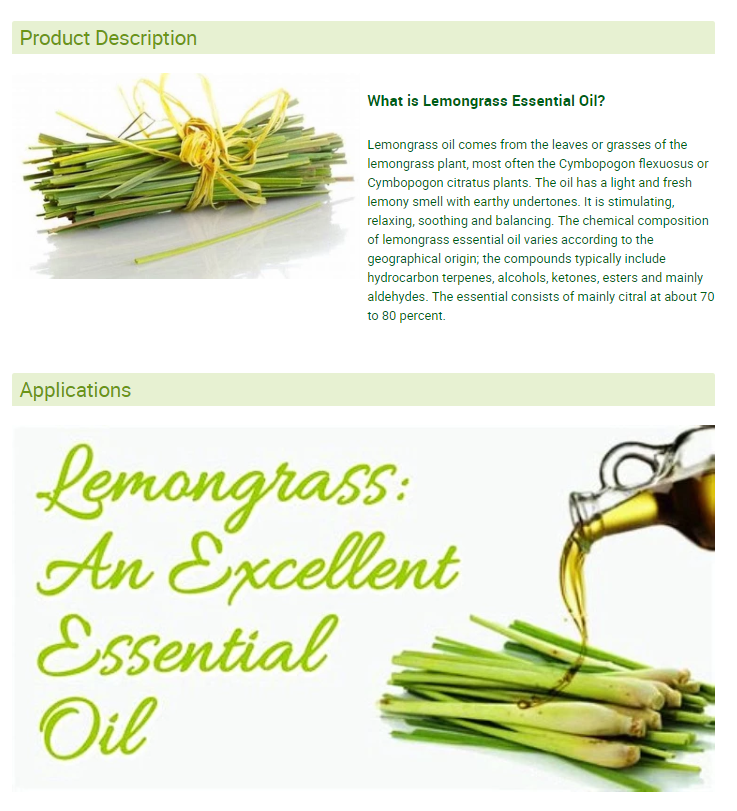 100%  Pure Lemongrass Essential Oil