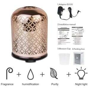 Luxury glass essential oil diffuser with rose gold color