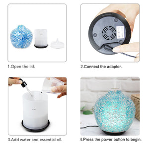 Glass Aroma Diffuser With Crack Design