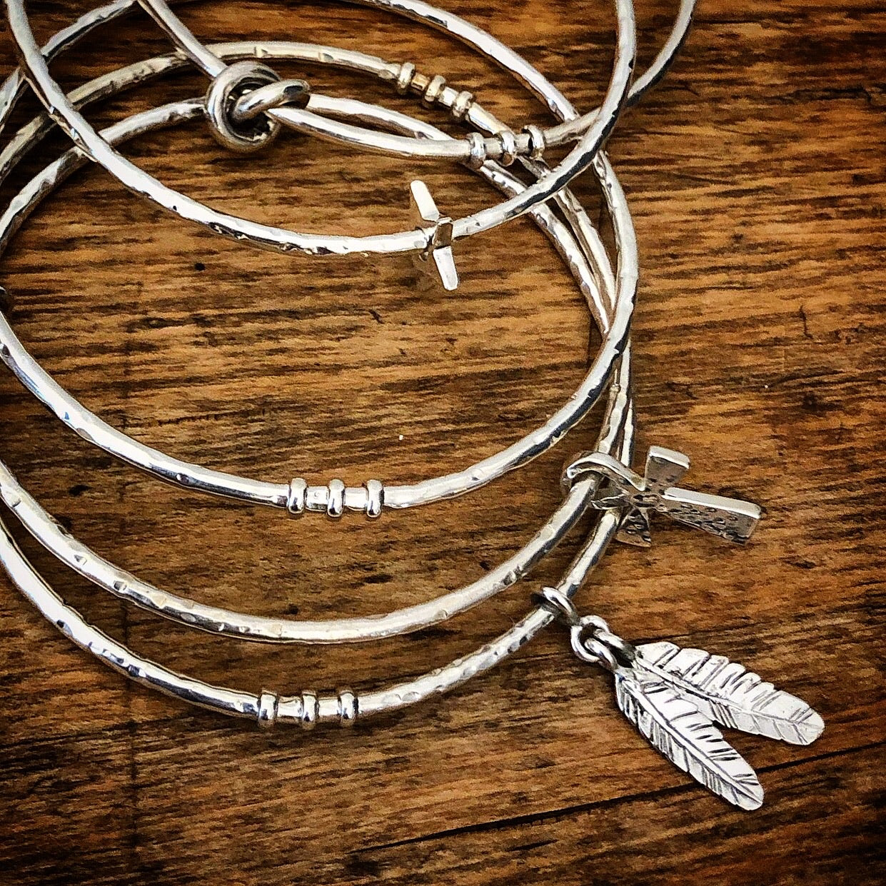 'Liberty' 2 Feathers Bangle