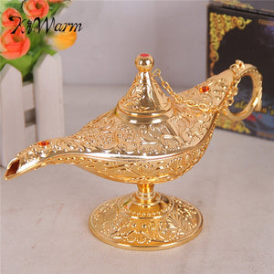 KiWarm Metal Carved Aladdin Lamp Light Wishing Tea Oil Pot Decoration Collectable Saving Collection Arts Craft Gift