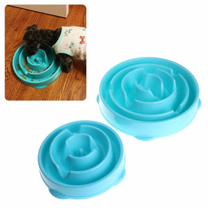 Pets Dogs Cats Bowl Anti Gulping Feeder Feeding Food Drinking Slow Puppy Blue Plastic Bowls Pet Supplies S/L C42