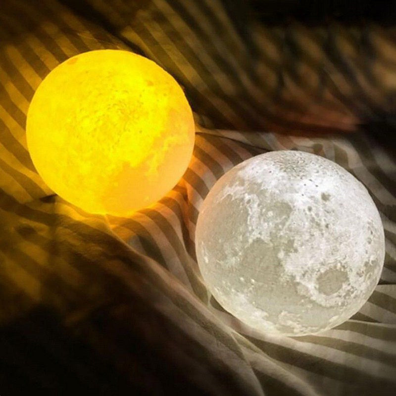 3D Print Moon Lamp Color Change Touch Switch Rechargeable Light Bedroom Bookcase Night Light Home Decor Creative Gift