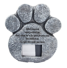 Paw Print Pet Memorial Stone With Photo Frame Loss Of Pet Gift Dog or Cat Grave Pet Supplies and Pet Accessories HG601673
