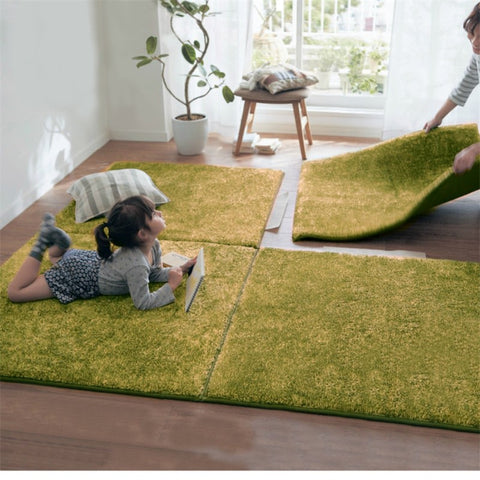 New Long Hair  Memory Foam Area Rugs Children Kids Play Mat Soft Patchwork Carpet Magic Jigsaw Splice Puzzle Climbing Baby Rugs