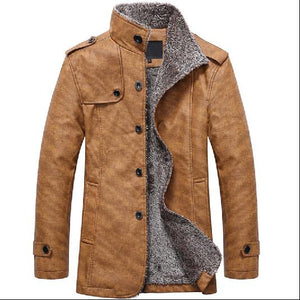 2018 casual Winter Men's Leather Jackets Fleece Stand Collar Long Coats