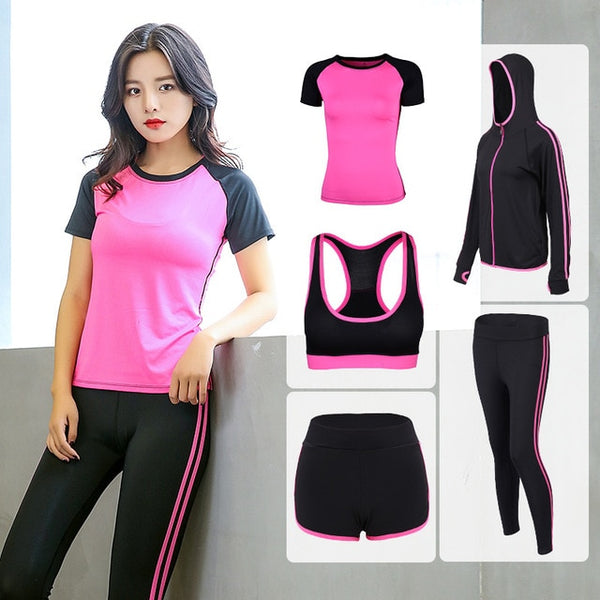 2018 Yoga Suits Women Gym Clothes Fitness Running Tracksuit Sport Bra+Sport Leggings+Yoga Shorts+Top 5 Piece Set Plus Size S-2XL