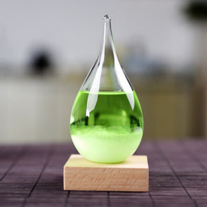 Water Shape Storm Glass Colorful Weather Forecast Crystal Drops Glass With Wooden Base  Home Decoration