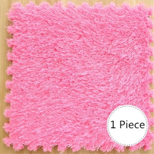 RAYUAN DIY Puzzle Mat EVA Foam Long Hair Villi Shaggy Carpet Playmat Plush Warm Soft Area Rug Children Baby Play Mat 30x30CM