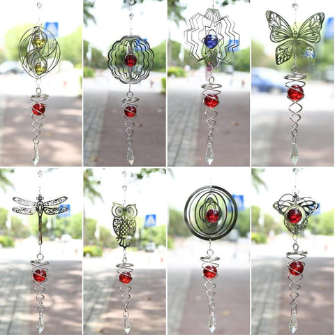 3D Crystal Foldable Wind Chime Mirror Hanging Metal Sheet Rotate Bell Wind Chimes Decoration for Garden Yard Ornament