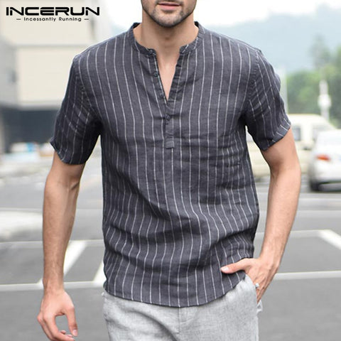 New Casual Shirts Men Shirts Cotton Striped Summer Short Sleeve Pullover Shirt Men Clothes Slim Fit Hombre Camisa 3XL Vacation