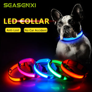 USB Charging LED Dog Collar Anti-Lost Nylon Light Collar For Dogs Puppy at Night Cool Pug Dog Supplies Pet Products Accessories