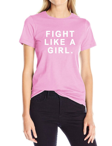 Women's FIGHT LIKE A GIRL  Letter Print Short Sleeve shirt, women casual short sleeve shirt, women fashion Top Tee, women short sleeve blouse, women letter print t-shirt