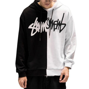 2018 Fashion Oversize Hip-hop Style Swag Hoodie Sweatshirt Autumn Winter Warm Hoodies Black White Splice Hoodies Streetwear S-XL