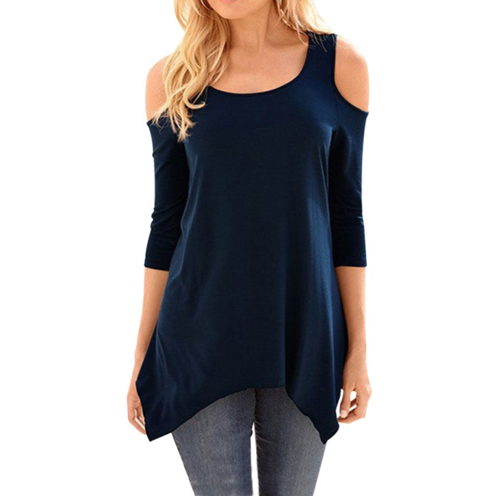 Women 3/4 Sleeve Round Neck Cold Shoulder Asymmetric Hem Solid Shirt Tops Blouse