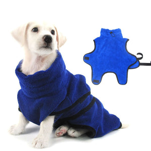 Dog Bathrobe Warm Dogs Clothes Super Absorbent Drying Towel for Golden Teddy Casual Blue Bath Towel Pet Supplies Size XS-XL