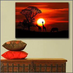 Large size Printing Giraffes Sunrises and sunsets Rhinoceroses Africa wall art canvas print pictures for living room and bedroom