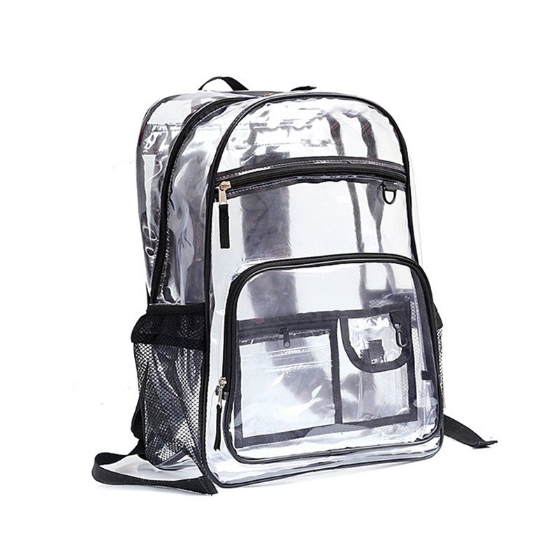 Clear PVC Backpack Transparent See Thru School Backpack Outdoor Bookbag Travel Makeup Pouch Organizer