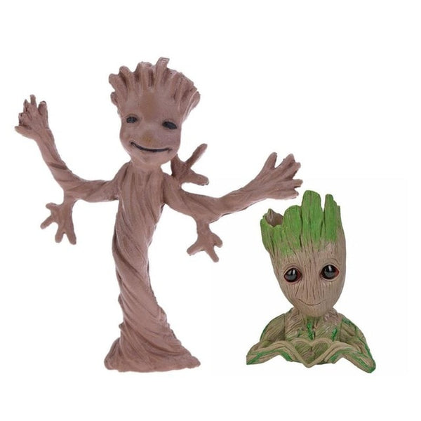2Pcs/set PVC Tree Man Model Toy Groot Baby Flowerpot