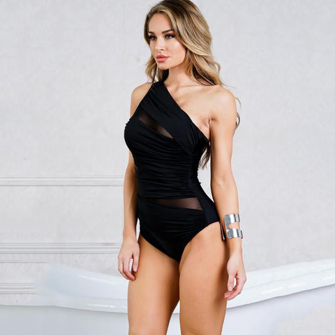 2019 Swimsuit Oblique shoulder piece bikini One-piece swimsuit Ladies single swimwear Feminina Bathing Suit Solid Black