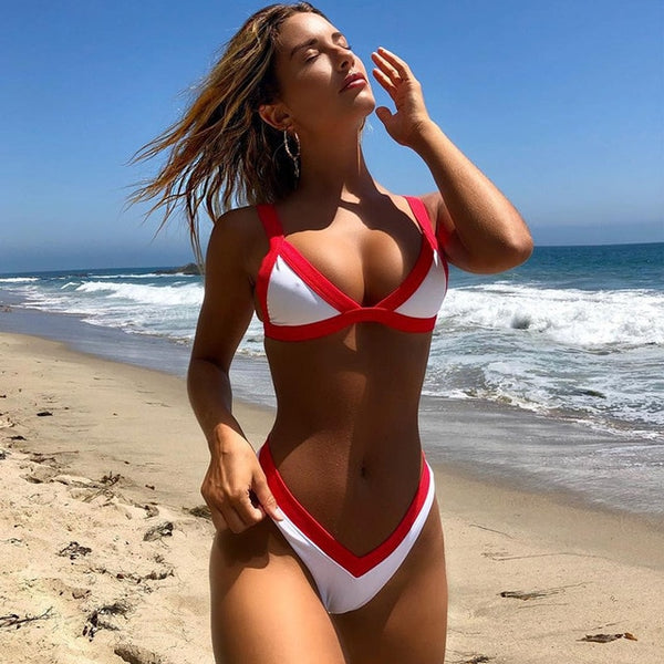 2019 New Sexy Bikini Swimwear Women Swimsuit Push Up Bikinis  Solid Bathing Suit Summer Beach Wear