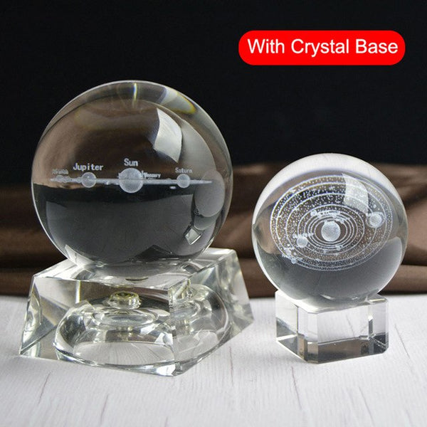 3D Solar System Miniature Crystal Ball Engraved Planets Model Home Decor Gifts E2S