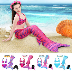 5pcs Girls Swimsuit Fish Tails Princess Bikini Set High Elasticity Swimming Bathing Suit Holiday Party Cosplay Costume