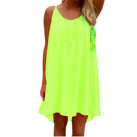 ZANZEA 2019 Summer Women Chiffon  Mini Dress SleevelessSexy