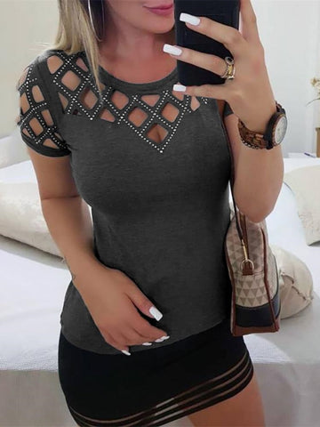 2019 Summer Women Elegant Round Neck Short Sleeve Leisure Basic Top Studded Grid Hollow Out Casual T-shirt