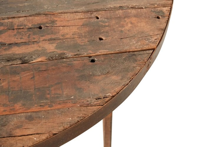 "48"" Round Reclaimed Wood & Metal Dining Table"