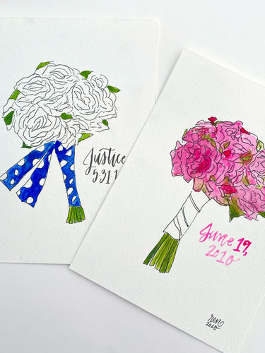 Watercolor Bouquet Portrait