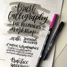 Load image into Gallery viewer, July 11 (Saturday 2-4 PM) Beginner's Brush Calligraphy Workshop