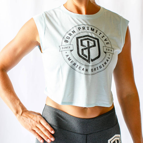 Born Primitive Festival Cropped Tank - Ice Blue