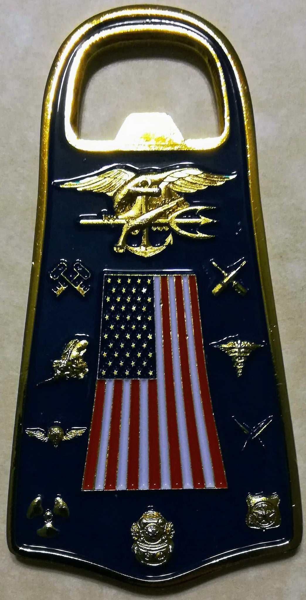 Naval Special Warfare Group Logistics Support Unit One Bottle Opener Navy  SEAL Challenge Coin