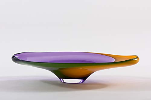 Hand Blown Glass Radiant Plate/Avocado Curry & Amethyst