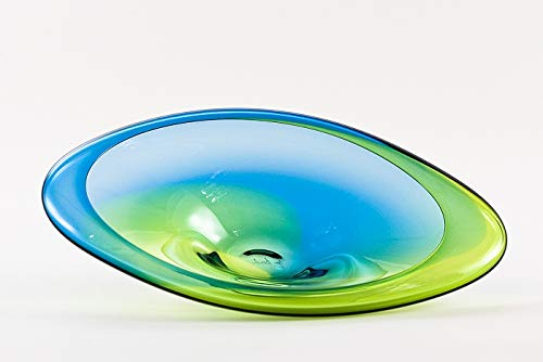 Hand Blown Glass Two Tone Rim Plate/Mid Blue & Lime Green