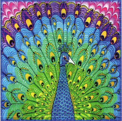 Psychedelic Blotter Art Print perforated sheet/paper 30x30 - Peacock Design