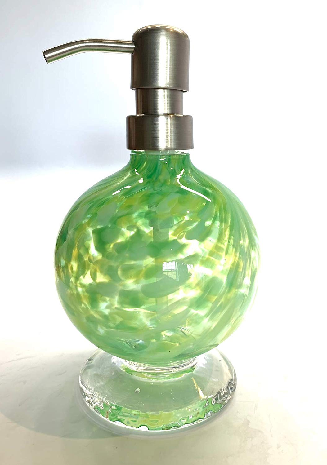 Handblown Glass Round Lotion or Soap Dispenser Color Green