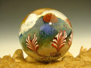 Vortex Glassworks Coral Reef Ocean Glass Art Marble with Jellyfish Implosion Ocean Orb Aaron Slater VGW (Ready to Ship).