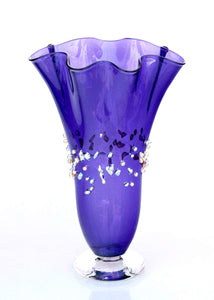 Purple Dew Drops Fluted Vase Hand Blown Glass