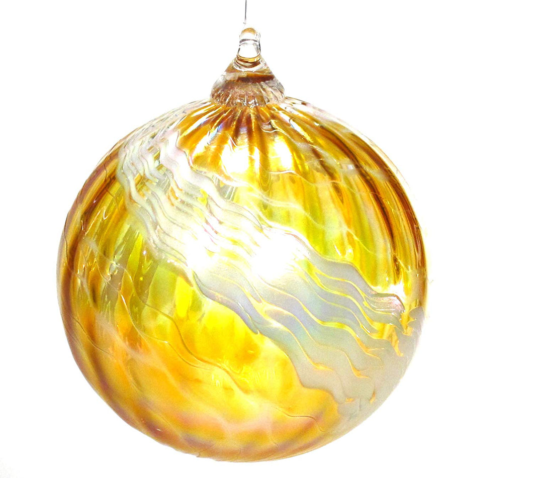 Tom Stoenner Hand Crafted Ice Cap Ornament Yellow