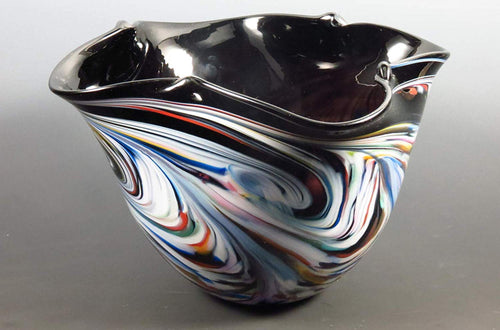 Hand Blown Glass Color Pinched Bowl