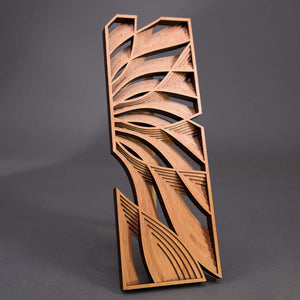 Phillip Roberts Wooden Hand Crafted Wood Wall Art 16x6in. - Flow Design