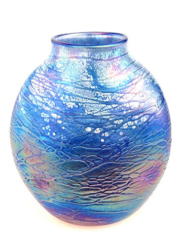 Tom Stoenner Hand Crafted Oval Vase (Blue)