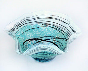 Handblown Glass Lightning Fluted Bowl