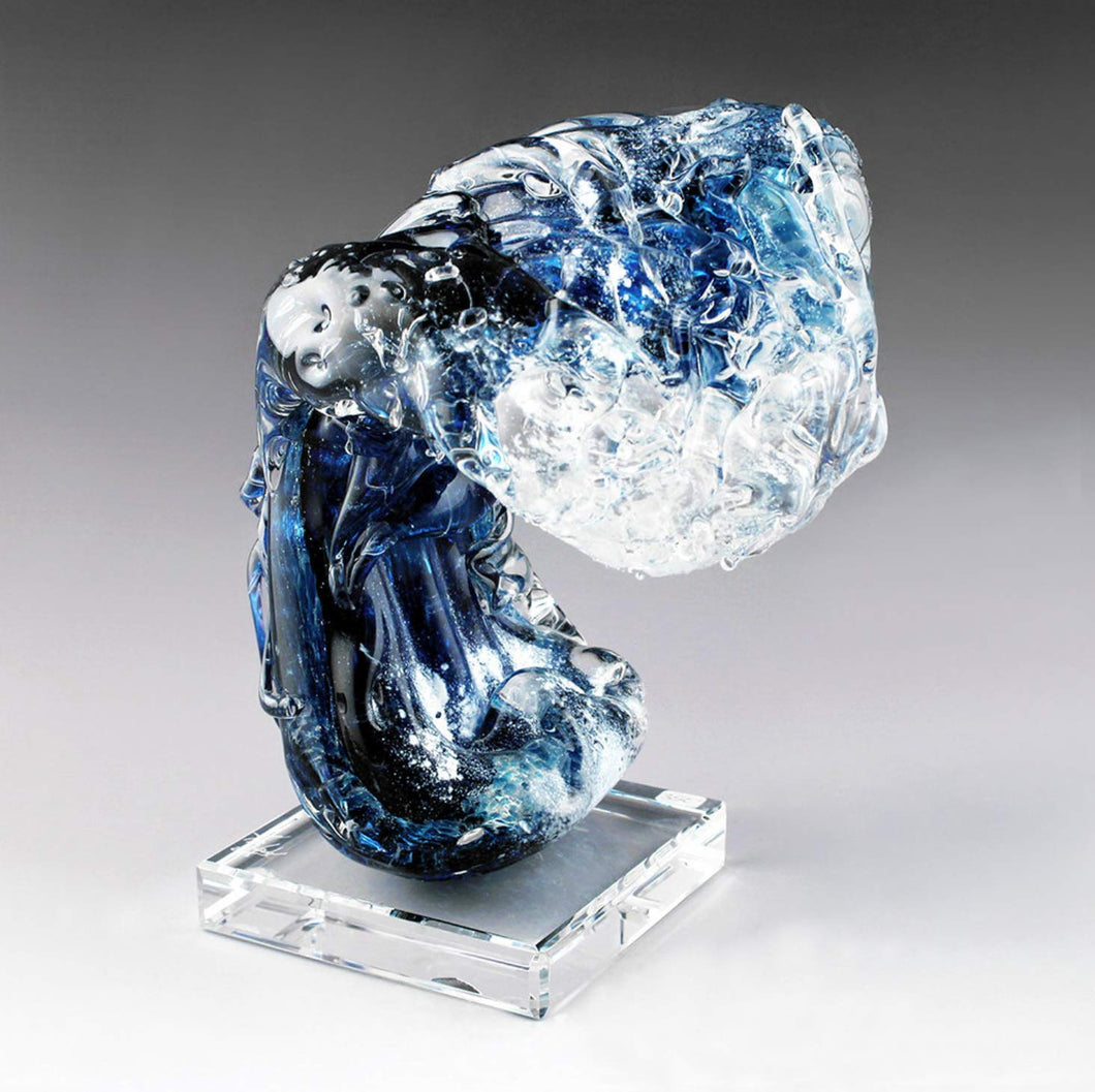 Hand Blown Glass Blue Wave Sculpture